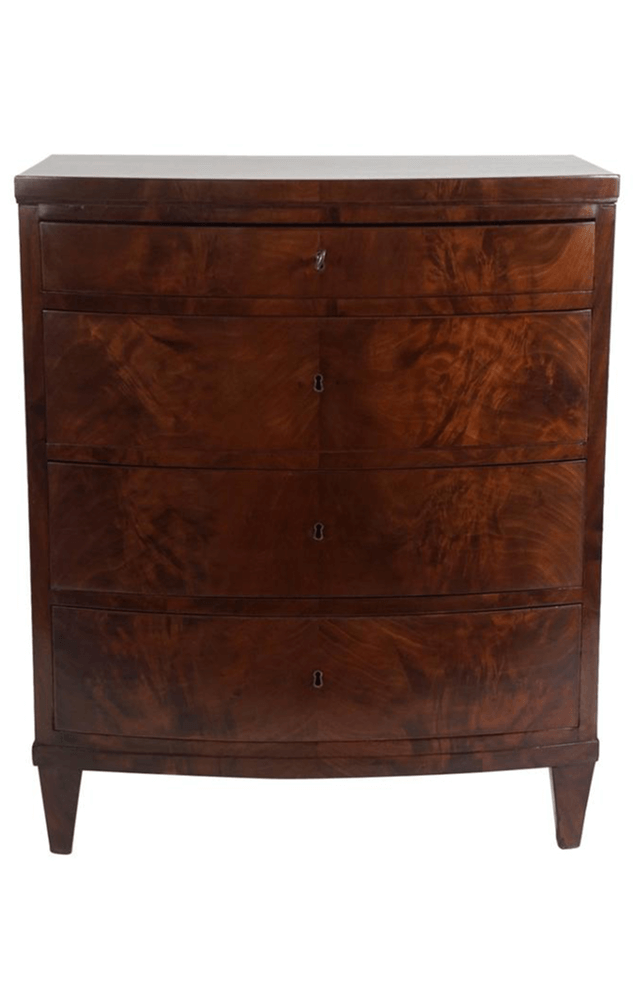 Exceptional Mahogany Bow Front Bacheloru0027s Chest, Denmark, Circa 1820